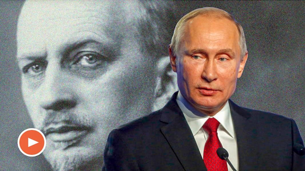 Still from video: Ivan Ilyin and Vladimir Putin.