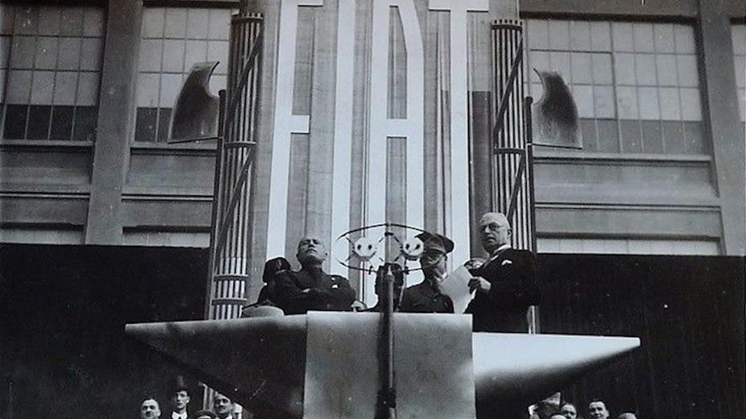 Photo: Mussolini at Fiat Plant.