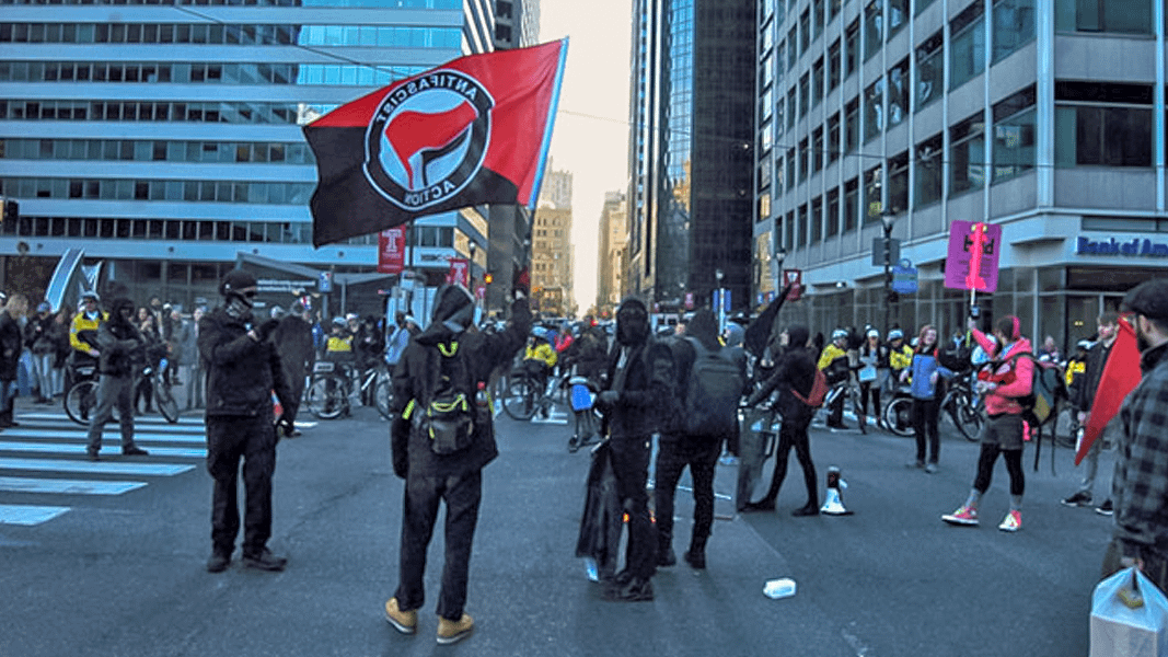 An anti-fascist group known as Philly Rebellion marked the arrest of more than 200 protesters one year ago at the inauguration of Donald Trump in Washington, DC, by taking and holding a major intersection in downtown Philadelphia on January 20, 2018.