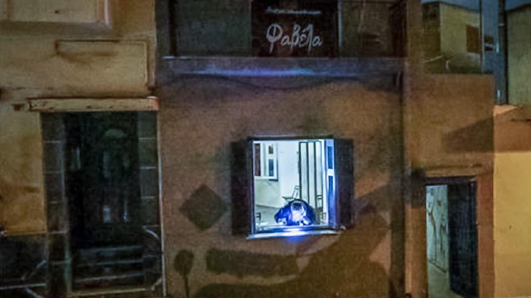Photo: Night, exterior of building.