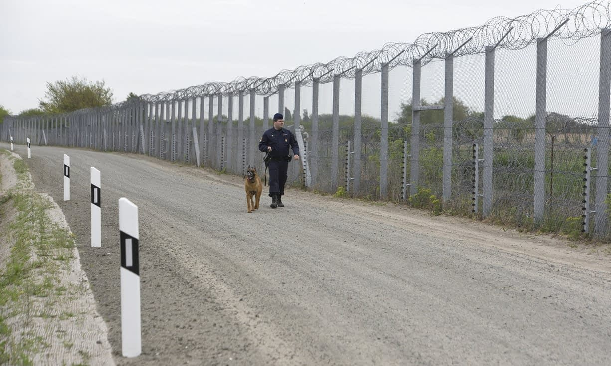 Photo of Hungarys border with Serbia to stop migrants entering.