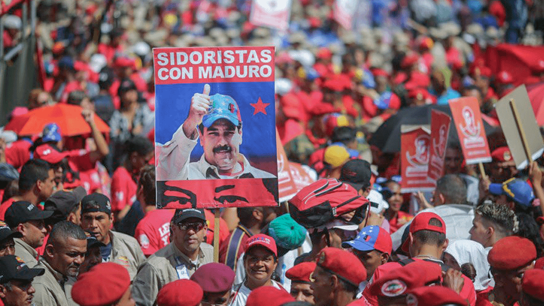 Workers at the nationalized steel plant SIDOR rally in support of President Nicolas Maduro on February 4, 2018.