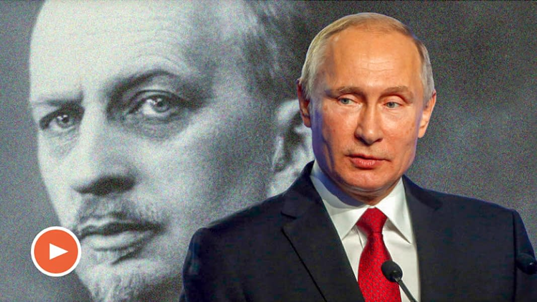 Still from video: Ivan Ilyin and Vladimir Putin.